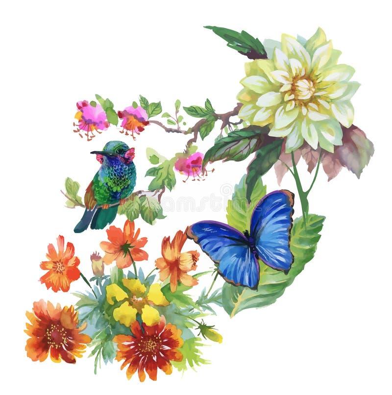 Συρμένο χέρι σχέδιο Watercolor με τα θερινά λουλούδια και τα εξωτικά πουλιά απεικόνιση αποθεμάτων