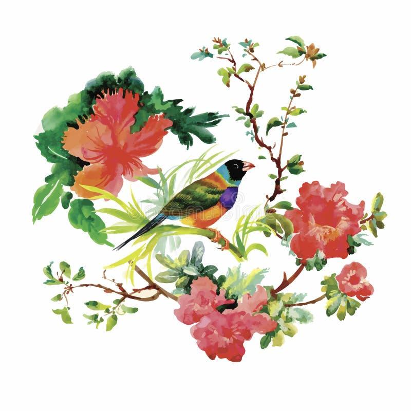 Συρμένο χέρι σχέδιο Watercolor με τα τροπικά θερινά λουλούδια και τα εξωτικά πουλιά ελεύθερη απεικόνιση δικαιώματος