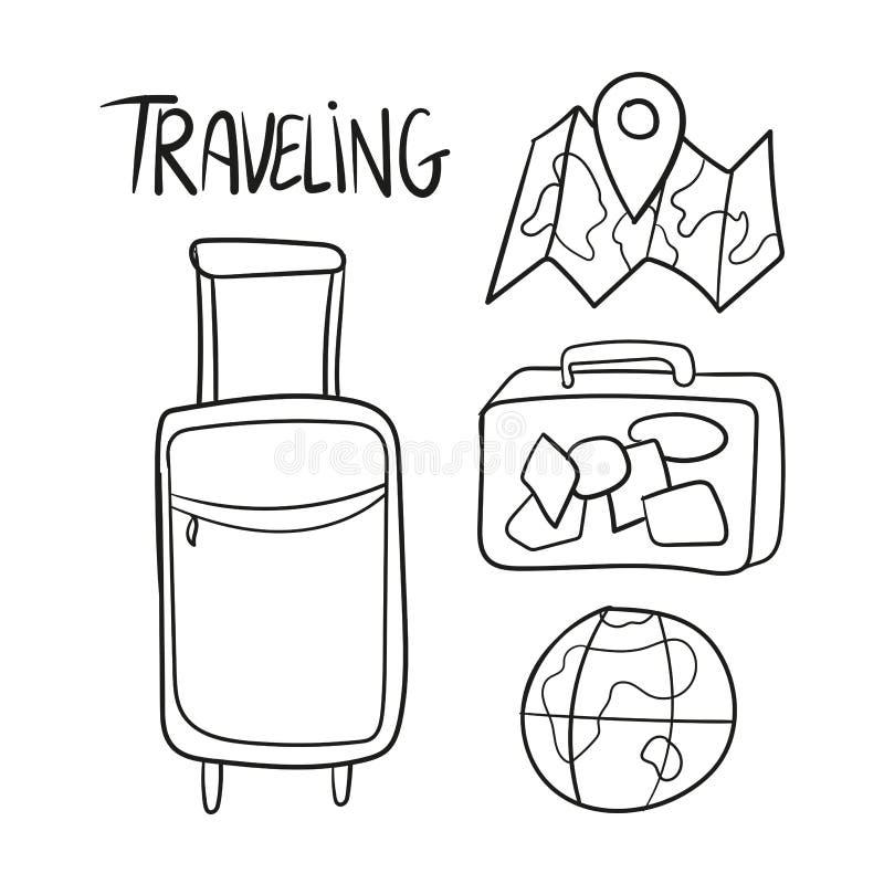 Συρμένο χέρι σύνολο διανύσματος ταξιδιού doodles απεικόνιση αποθεμάτων