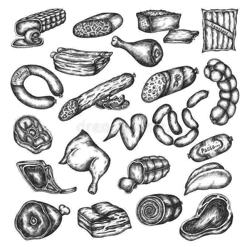 Συρμένο χέρι σύνολο εικονιδίων προϊόντων κρέατος σκίτσων που απομονώνεται στο άσπρο υπόβαθρο Στοιχεία σχεδίου για τις επιλογές, κ ελεύθερη απεικόνιση δικαιώματος