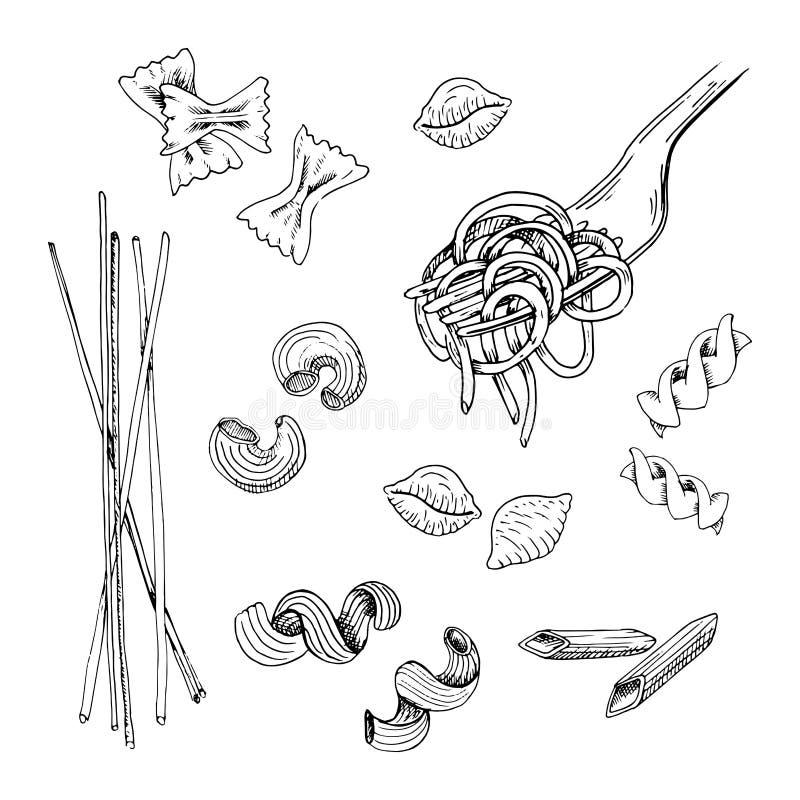 Συρμένο χέρι σύνολο ζυμαρικών Μαύρη σκιαγραφημένη συλλογή ζυμαρικών, που απομονώνεται στο άσπρο υπόβαθρο Εκλεκτής ποιότητας απεικ ελεύθερη απεικόνιση δικαιώματος