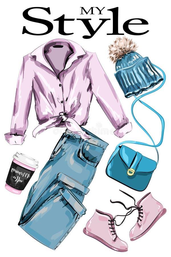 Συρμένο χέρι σύνολο: η μοντέρνη εξάρτηση με το πουκάμισο, παπούτσια, έπλεξε το καπέλο, τα τζιν, το φλυτζάνι τσαντών και καφέ Ενδύ απεικόνιση αποθεμάτων