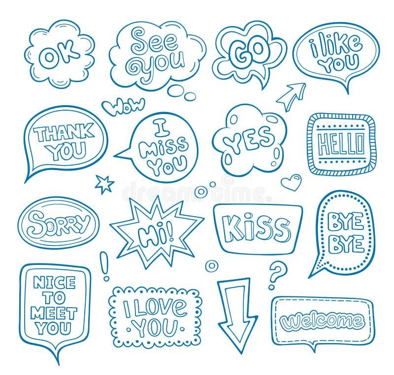 Συρμένο χέρι σύνολο λεκτικών φυσαλίδων με τις λέξεις διαλόγου ελεύθερη απεικόνιση δικαιώματος