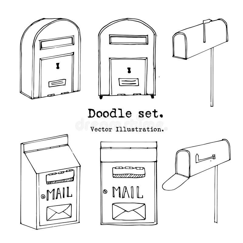 Συρμένο χέρι σύνολο ταχυδρομικών θυρίδων επίσης corel σύρετε το διάνυσμα απεικόνισης Η θέση Doodle, ταχυδρομεί τα διακοσμητικά στ διανυσματική απεικόνιση
