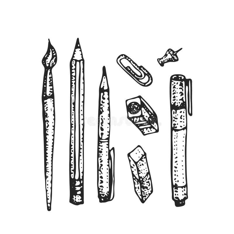 Συρμένο χέρι σύνολο χαρτικών Διανυσματική απεικόνιση doodle Σύνολο σχολικών εξαρτημάτων και προμηθειών Σύνθεση εργαλείων απεικόνιση αποθεμάτων