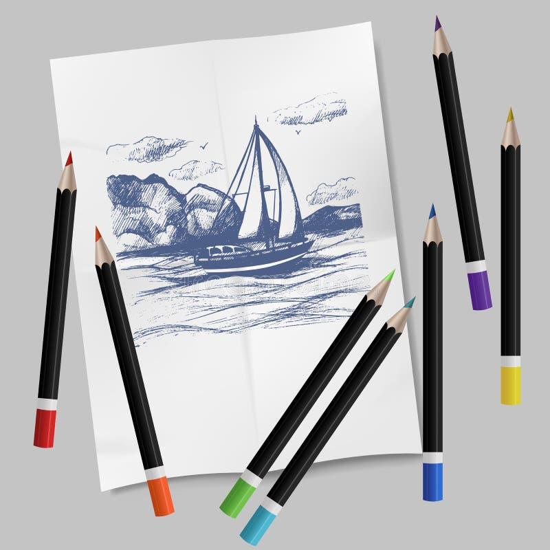 Συρμένο χέρι σύνολο χαρτικών : Σύνολο χρωματισμένων καλλιτέχνης μολυβιών και monotype σκίτσων στυλού μελανιού διανυσματική απεικόνιση