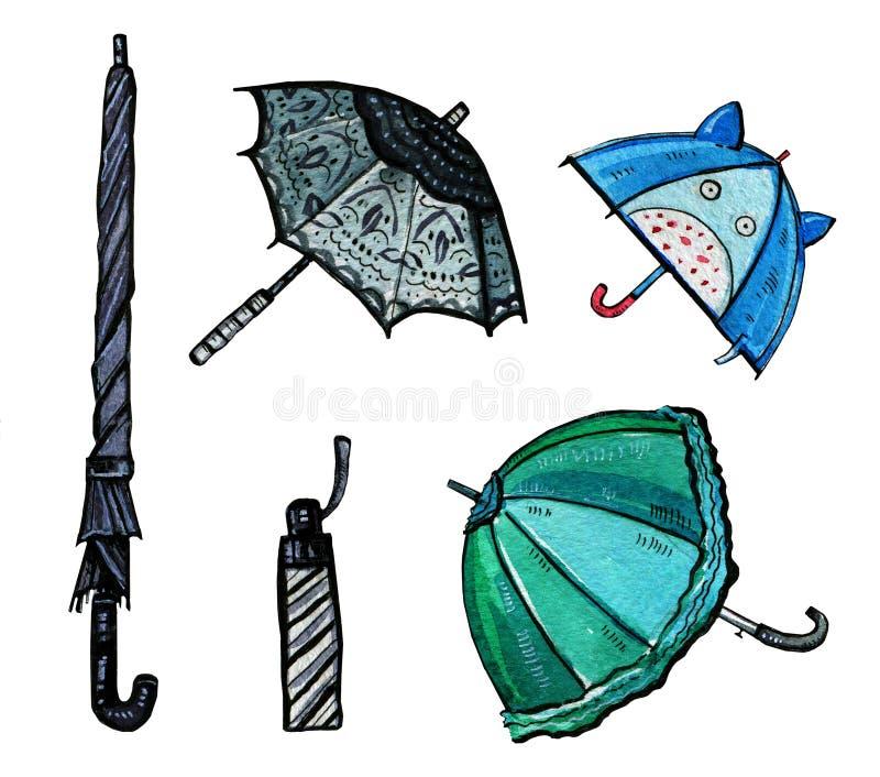 Συρμένο χέρι σύνολο watercolor τυποποιημένων ομπρελών απεικόνιση αποθεμάτων