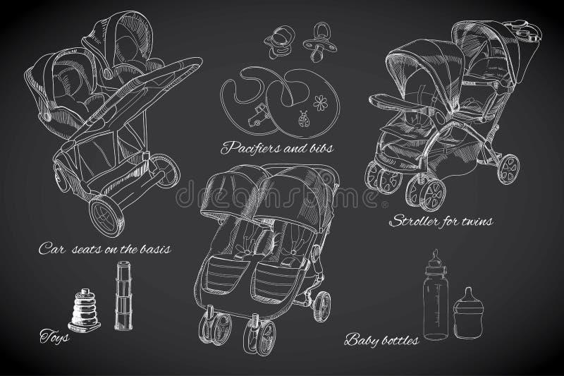 Συρμένο χέρι σύνολο για τα δίδυμα Γραφικοί περιπατητές σκίτσων, καθίσματα αυτοκινήτων, β απεικόνιση αποθεμάτων