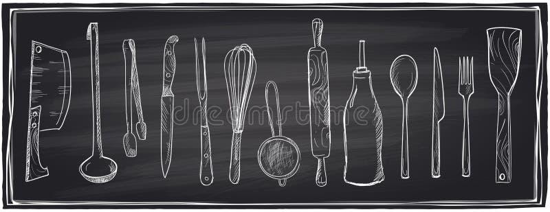 Συρμένο χέρι σύνολο εργαλείων κουζινών σε έναν πίνακα κιμωλίας ελεύθερη απεικόνιση δικαιώματος