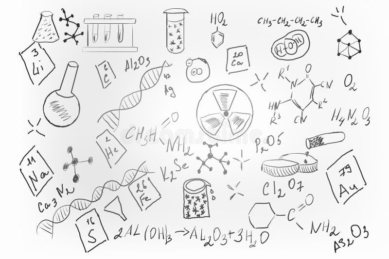 Συρμένο χέρι σύνολο χημείας στοκ φωτογραφίες με δικαίωμα ελεύθερης χρήσης