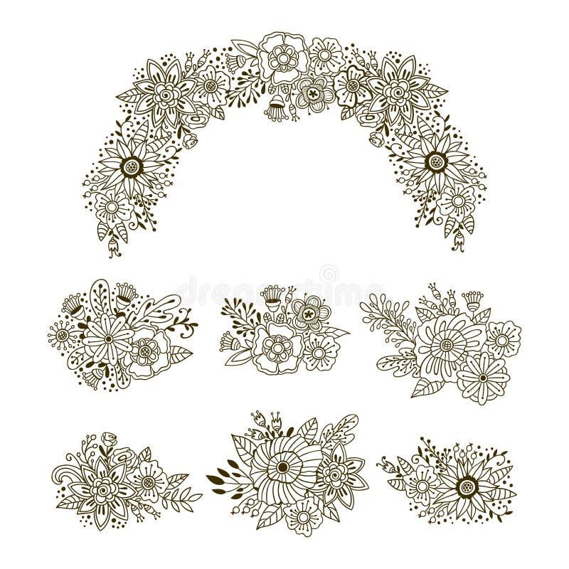 Συρμένο χέρι σύνολο floral ανθοδεσμών Διανυσματική διακόσμηση στεφανιών διακοσμήσεων Λουλούδια και στοιχεία χορταριών doodle ελεύθερη απεικόνιση δικαιώματος