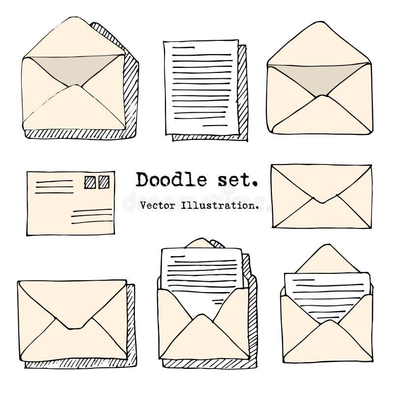 Συρμένο χέρι ταχυδρομείο, θέση, επιστολή, φάκελος, σύνολο κινούμενων σχεδίων αεροπλάνων εγγράφου επίσης corel σύρετε το διάνυσμα  απεικόνιση αποθεμάτων