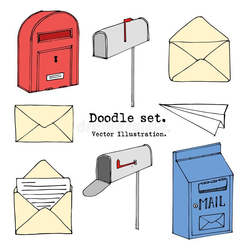 Συρμένο χέρι ταχυδρομείο, θέση, επιστολή, φάκελος, σύνολο κινούμενων σχεδίων αεροπλάνων εγγράφου επίσης corel σύρετε το διάνυσμα  διανυσματική απεικόνιση