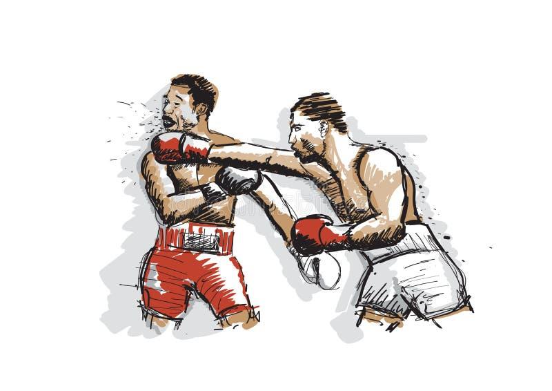 Συρμένο χέρι υπόβαθρο απεικόνισης της εγκιβωτίζοντας αντιστοιχίας με δύο μαχητές διανυσματική απεικόνιση