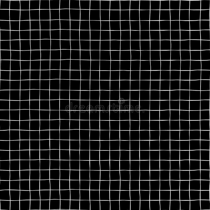Συρμένο χέρι υπόβαθρο σχεδίων πλέγματος άνευ ραφής διανυσματικό Άσπρες τετραγωνικές μορφές ράστερ στο μαύρο σκηνικό Γεωμετρικό μο διανυσματική απεικόνιση