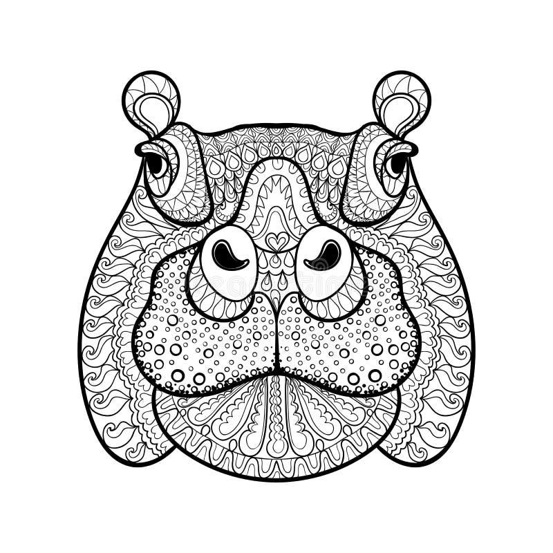 Συρμένο χέρι φυλετικό επικεφαλής, ζωικό τοτέμ hippopotamus απεικόνιση αποθεμάτων