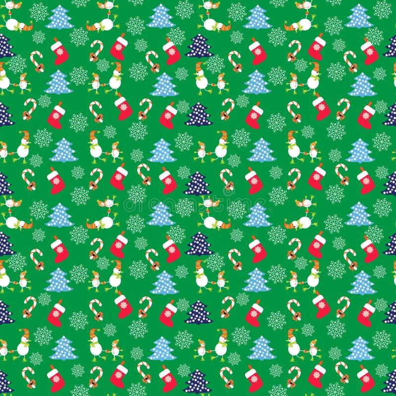 Συρμένο χέρι χαριτωμένο άνευ ραφής σχέδιο Χριστουγέννων με τους αστείους χιονανθρώπους απεικόνιση αποθεμάτων