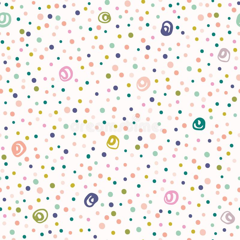 Συρμένο χέρι χαριτωμένο σχέδιο κομφετί σημείων Πόλκα Θερινό διανυσματικό άνευ ραφής υπόβαθρο Απεικόνιση κομμάτων κρητιδογραφιών Μ ελεύθερη απεικόνιση δικαιώματος