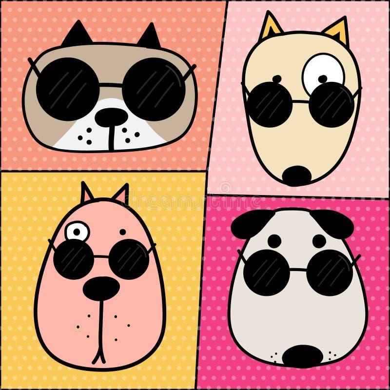 Συρμένο χέρι χαριτωμένο σύνολο χαρακτήρων προσώπου σκυλιών διανυσματική απεικόνιση