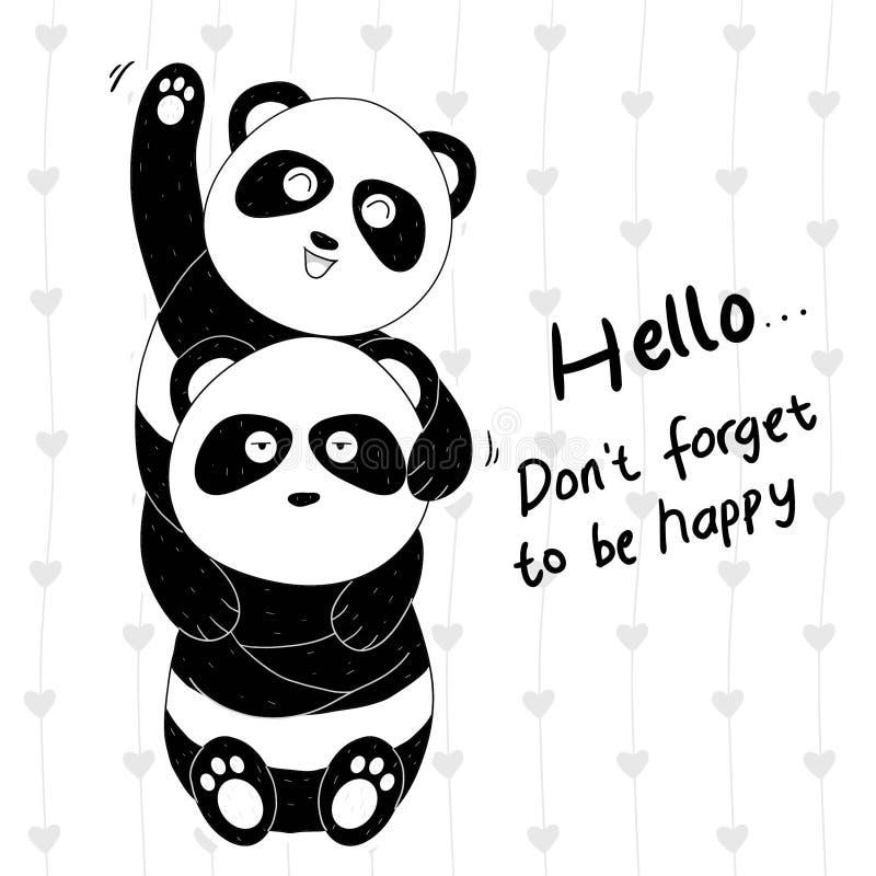 Συρμένο χέρι χαριτωμένο panda δύο ζεύγη ελεύθερη απεικόνιση δικαιώματος
