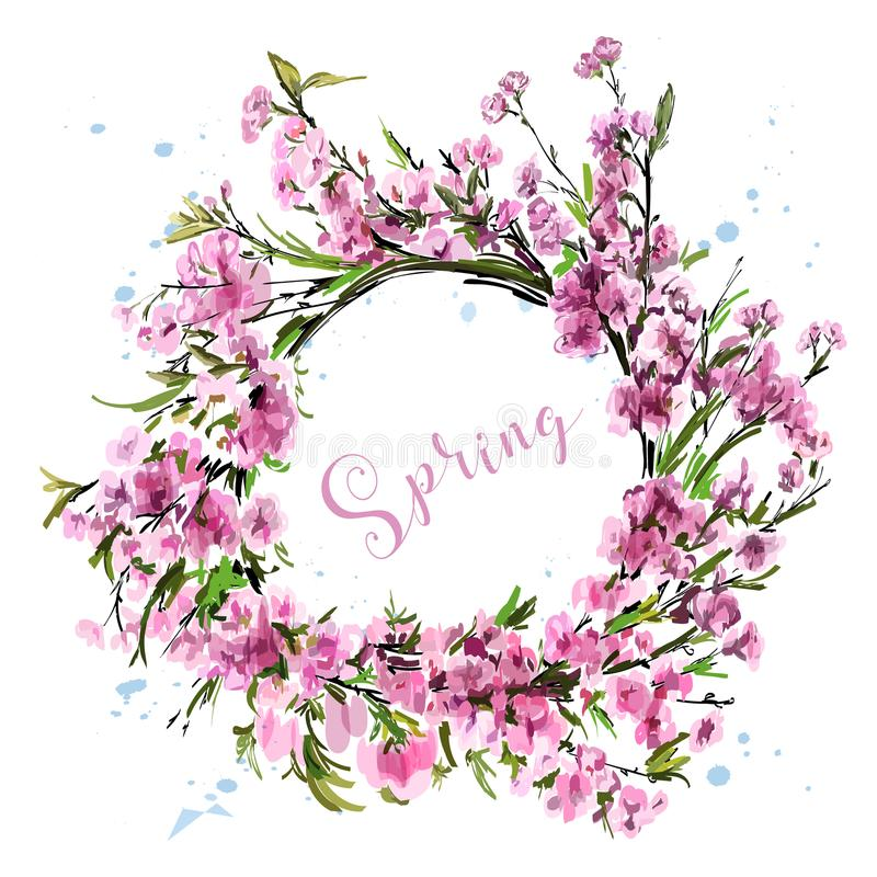 Συρμένο χέρι όμορφο στεφάνι λουλουδιών Χαριτωμένα άνθη κερασιών άνοιξη Μοντέρνο στεφάνι sakura σκίτσο ελεύθερη απεικόνιση δικαιώματος