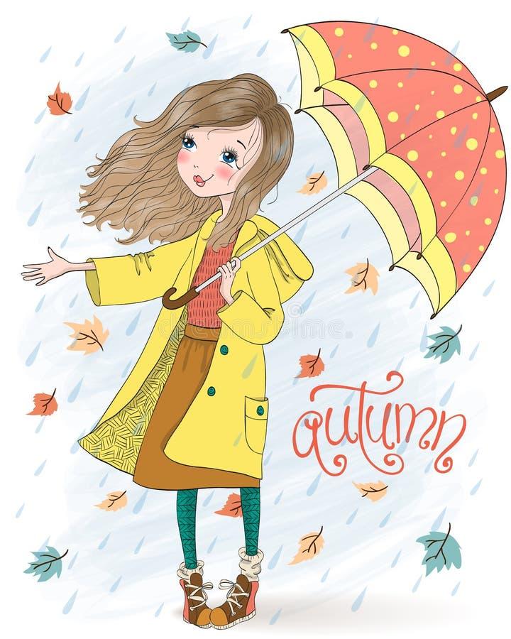 Συρμένο χέρι όμορφο χαριτωμένο κορίτσι με την ομπρέλα στο υπόβαθρο με ένα φθινόπωρο επιγραφής ελεύθερη απεικόνιση δικαιώματος