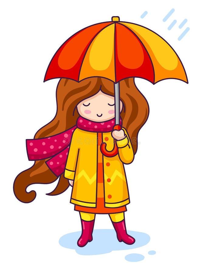 Συρμένο χέρι όμορφο χαριτωμένο κορίτσι με την ομπρέλα στο υπόβαθρο φθινοπώρου διανυσματική απεικόνιση