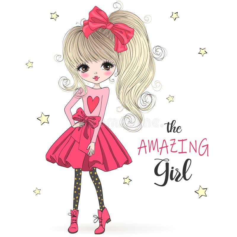 Συρμένο χέρι όμορφο χαριτωμένο κορίτσι μόδας κινούμενων σχεδίων καταπληκτικό διανυσματική απεικόνιση