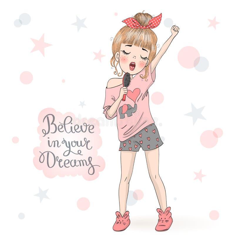 Συρμένο χέρι όμορφο χαριτωμένο μικρό κορίτσι στις πυτζάμες που τραγουδούν στη βούρτσα γηα τα μαλλιά διανυσματική απεικόνιση