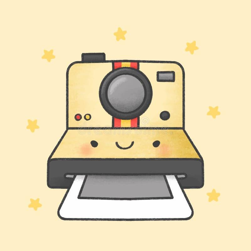 Συρμένο χέρι ύφος κινούμενων σχεδίων καμερών Polaroid διανυσματική απεικόνιση