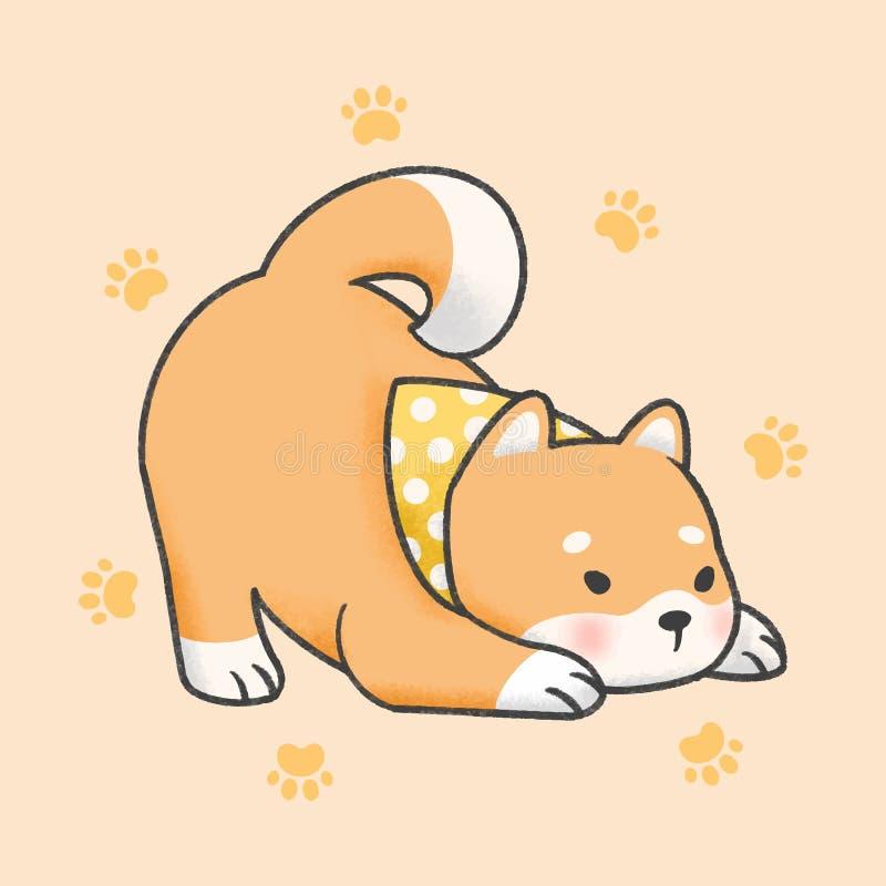Συρμένο χέρι ύφος κινούμενων σχεδίων σκυλιών inu Shiba απεικόνιση αποθεμάτων