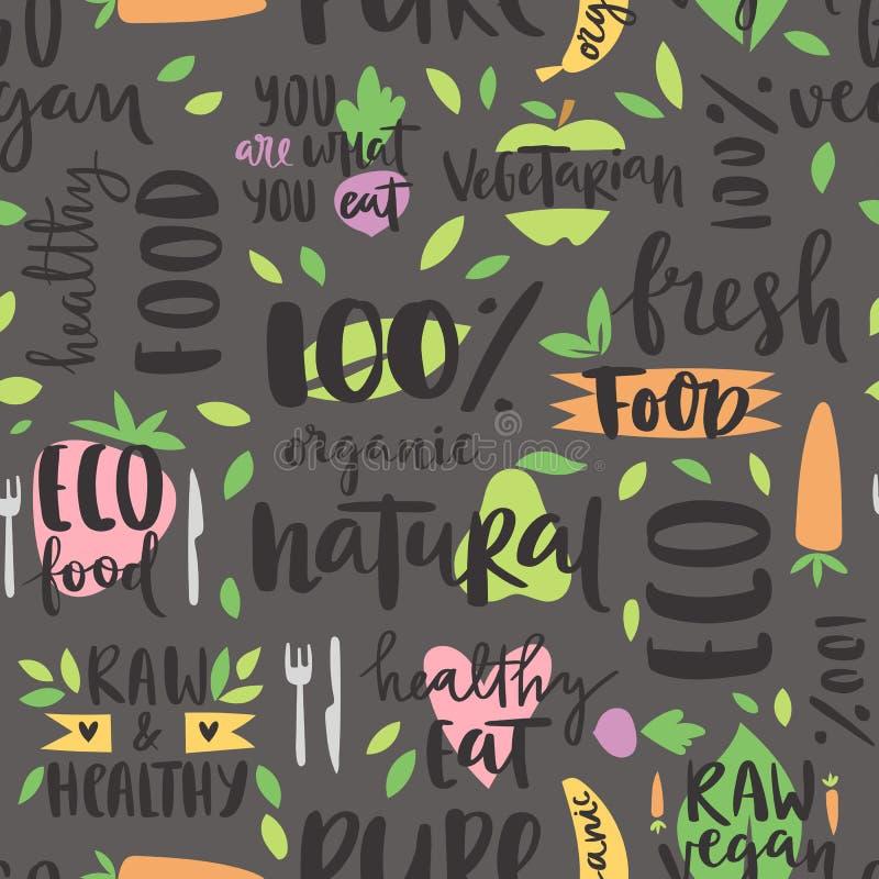 Συρμένο χέρι ύφους άνευ ραφής σχεδίων βιο οργανικό eco υγιές τροφίμων χρώμα υποβάθρου κειμένων φυσικό και εκλεκτής ποιότητας vega διανυσματική απεικόνιση