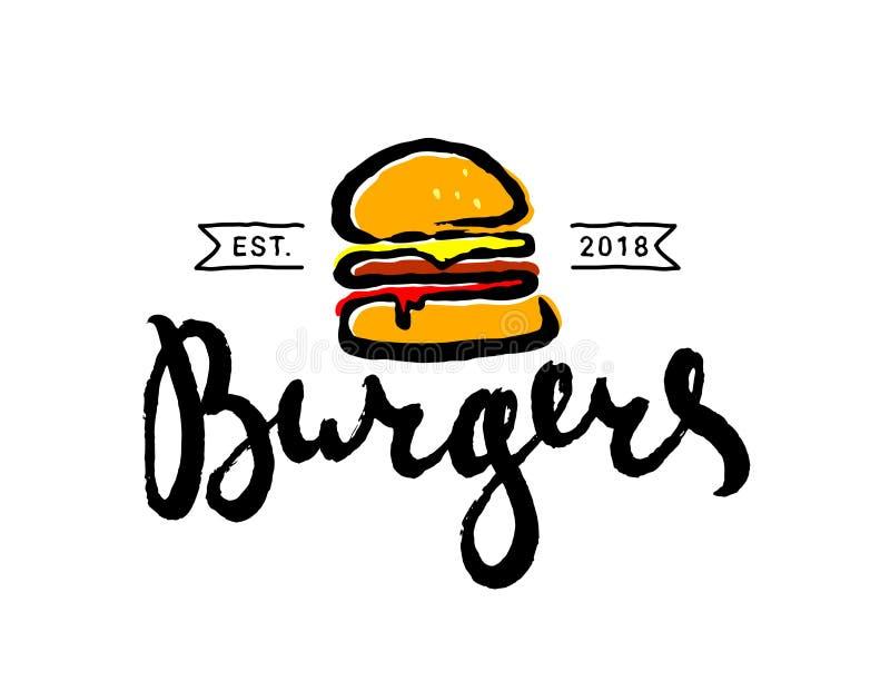 Συρμένο χέρι burger γρήγορου φαγητού λογότυπο κινούμενων σχεδίων ή εικονίδιο, έμβλημα διανυσματική απεικόνιση