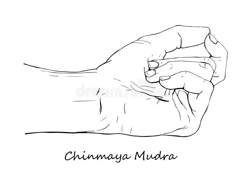 Συρμένο χέρι Chinmaya Mudra διανυσματική απεικόνιση