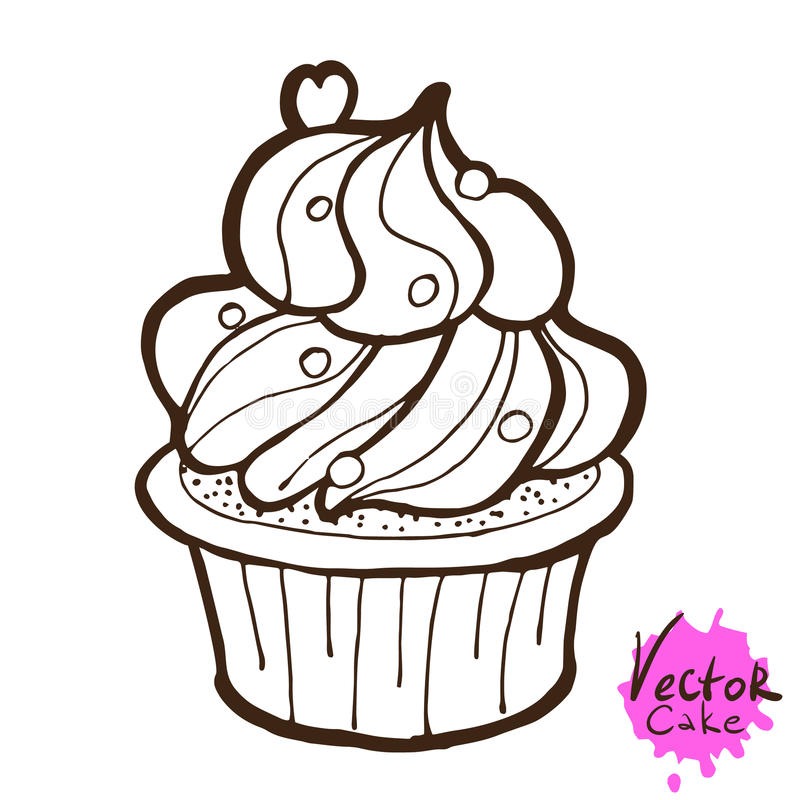 Συρμένο χέρι Cupcake ελεύθερη απεικόνιση δικαιώματος