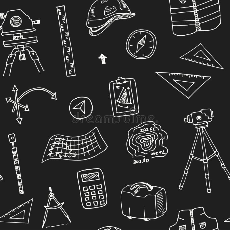 Συρμένο χέρι doodle γεωδαιτικό άνευ ραφής σχέδιο ερευνών διανυσματική απεικόνιση