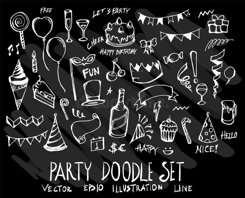 Συρμένο χέρι doodle εικονίδιο στοιχείων κομμάτων γραμμών που τίθεται διανυσματικό σε Chalkboa απεικόνιση αποθεμάτων