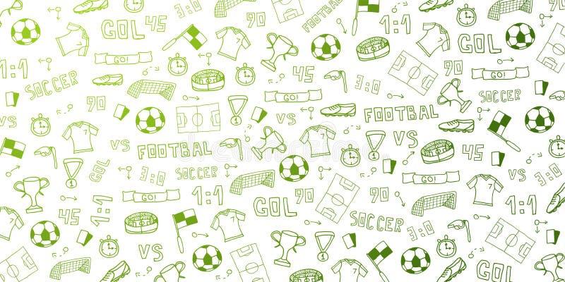 Συρμένο χέρι doodle υπόβαθρο ποδοσφαίρου ή ποδοσφαίρου Απομονωμένα στοιχεία επίσης corel σύρετε το διάνυσμα απεικόνισης ελεύθερη απεικόνιση δικαιώματος