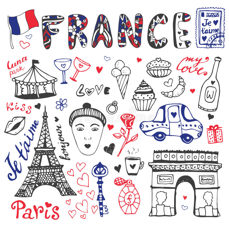 Συρμένο χέρι doodles σύνολο πύργου της Γαλλίας - του Άιφελ, θριαμβευτικής αψίδας και άλλων στοιχείων πολιτισμού Διανυσματική συλλ απεικόνιση αποθεμάτων