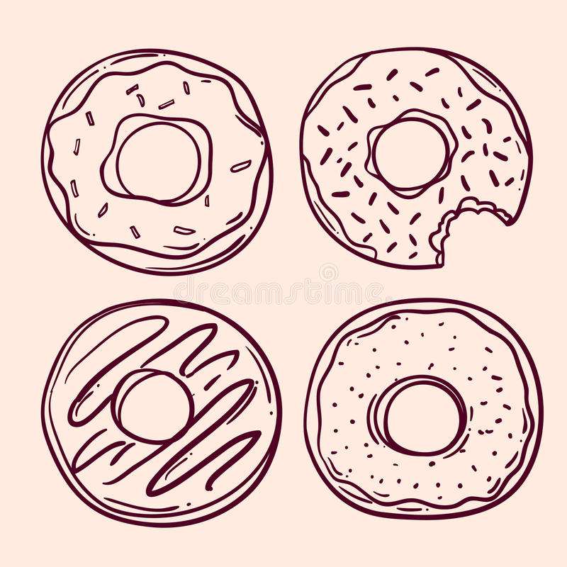 Συρμένο χέρι doughnut διανυσματική απεικόνιση