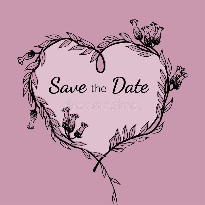 Συρμένο χέρι floral στεφάνι στη μορφή της καρδιάς για την ημέρα βαλεντίνων και το γαμήλιο σχέδιο ελεύθερη απεικόνιση δικαιώματος
