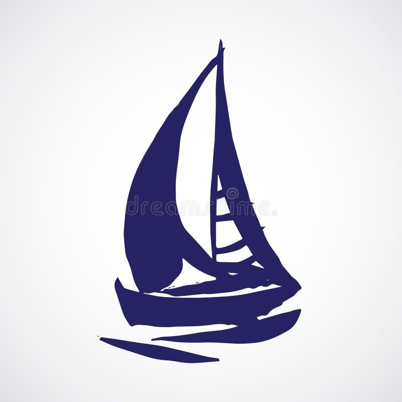 Συρμένο χέρι sailboat απεικόνιση αποθεμάτων