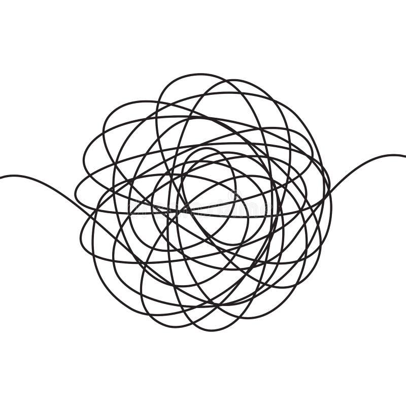 Συρμένο χέρι scrawl σκίτσο ή μαύρη μορφή κακογραφίας γραμμών σφαιρική αφηρημένη Διανυσματικό χαοτικό κουβάρι νημάτων κύκλων σχεδί ελεύθερη απεικόνιση δικαιώματος