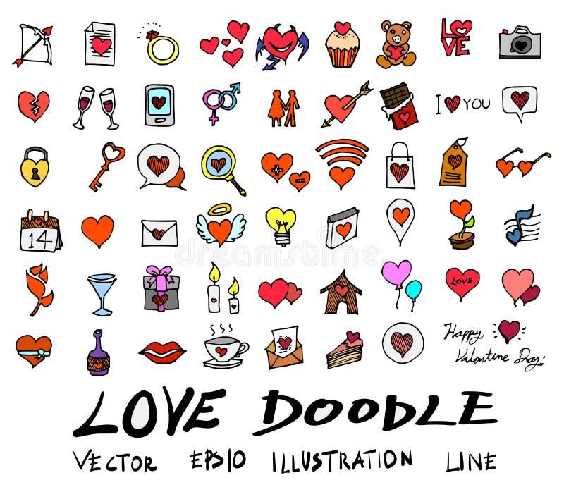 Συρμένο χέρι SE εικονιδίων χρώματος στοιχείων αγάπης γραμμών σκίτσων doodle διανυσματικό ελεύθερη απεικόνιση δικαιώματος