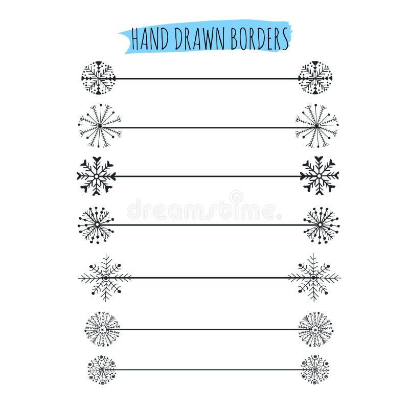 Συρμένο χέρι snowflakes σχέδιο διαιρετών eps 8 διακοσμήσεων Χριστουγέννων διάνυσμα ελεύθερη απεικόνιση δικαιώματος