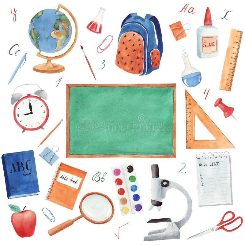 Συρμένο χέρι watercolor πίσω στις σχολικές προμήθειες καθορισμένες απομονωμένες στο άσπρο υπόβαθρο διανυσματική απεικόνιση
