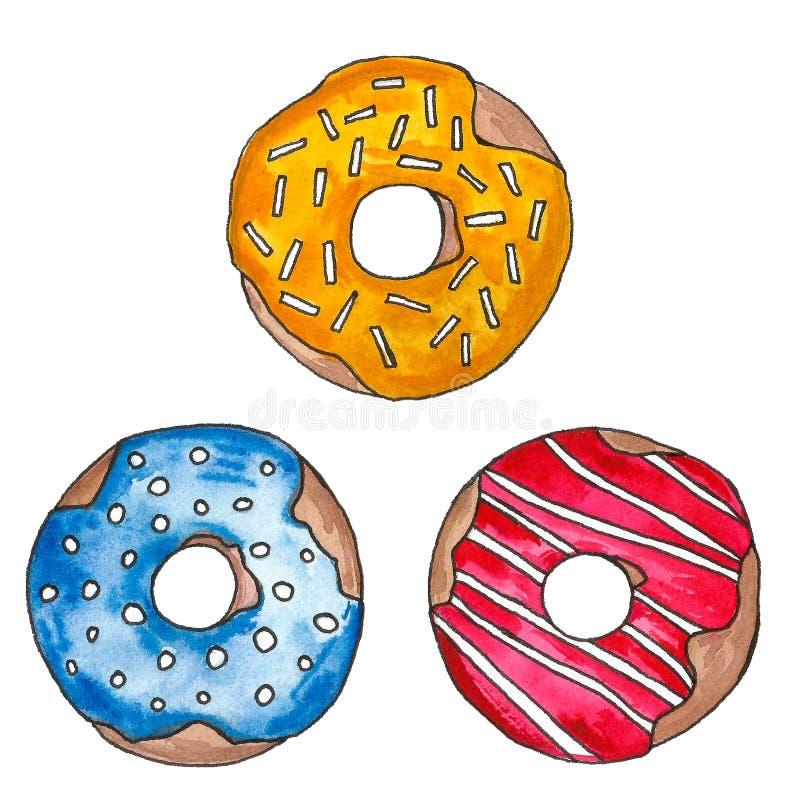 Συρμένο χέρι watercolor που χρωματίζεται donuts στο λούστρο σε ένα άσπρο υπόβαθρο Άνευ ραφής σχέδιο, σύνολο σκίτσων, πλαίσιο Γλυκ ελεύθερη απεικόνιση δικαιώματος