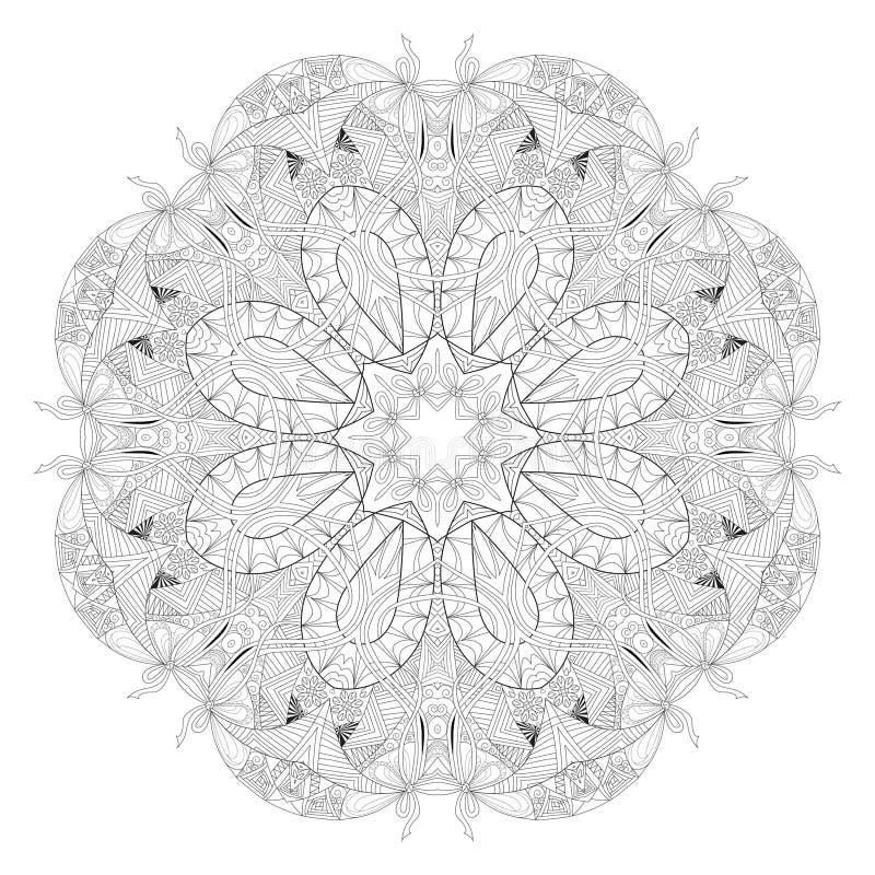 Συρμένο χέρι zentangle mandala για το χρωματισμό της σελίδας απεικόνιση αποθεμάτων