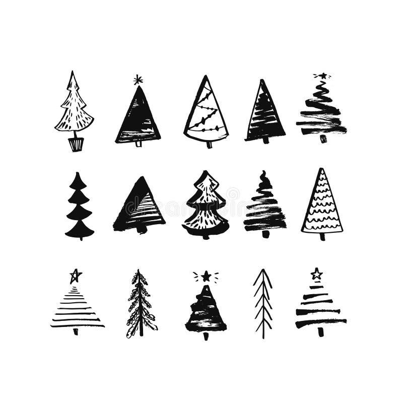 συρμένο Χριστούγεννα δέντ&rh Σύνολο σκιαγραφημένων απεικονίσεων των έλατων Μαύρα σκίτσα μελανιού και βουρτσών των ερυθρελατών για διανυσματική απεικόνιση