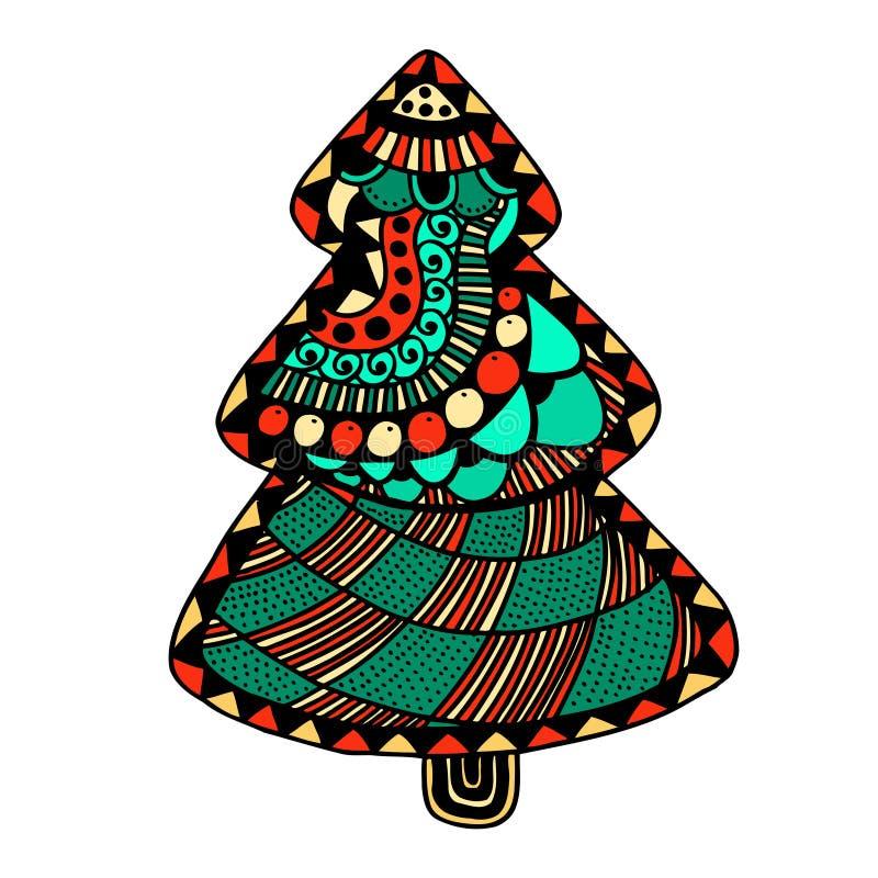 συρμένο Χριστούγεννα δέντ&rh απεικόνιση αποθεμάτων